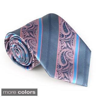 Vance Co. Men's Microfiber Handmade Paisley Stripe Tie and Hanky Set
