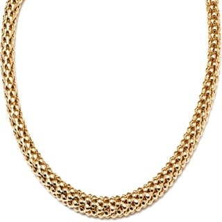 18k Goldplated Gold Popcorn Mesh Necklace