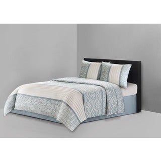 N Natori Fretwork Aqua Cotton 4-piece Comforter Set