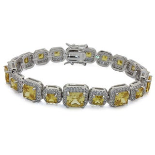 Sterling Silver Princess-cut Yellow Cubic Zirconia Tennis Bracelet
