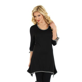 Womans 3/4 Sleeve Black & White Top