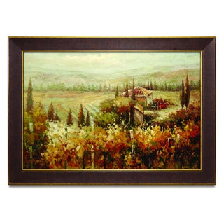 Framed Oil Painting on Canvas of Tuscany Landscape Vineyard