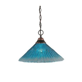 Cambridge 1-Light Black Copper 10.25 in. Pendant with Teal Crystal Glass
