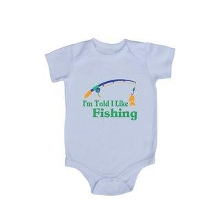 """Rocket Bug """"I'm Told I Like Fishing"""" Baby Bodysuit"""
