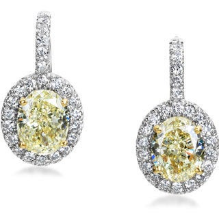 SummerRose 14k White Gold 3ct TDW Yellow and White Diamond Drop Earrings (H-I, SI1-SI2)