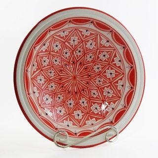 Le Souk Ceramique Red Nejma Design Medium Serving Bowl (Tunisia)