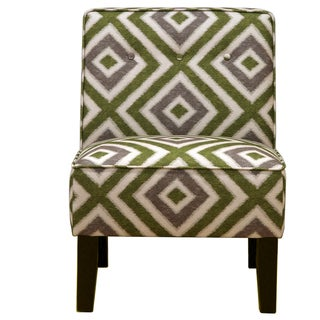 Registan Green and Grey Diamond Sapling Pattern Accent Chair