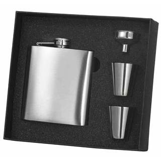 Visol Supreme Stainless Steel Flask, Shot Cups and Funnel Gift Set