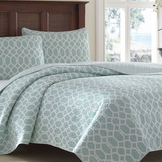 Tommy Bahama Catalina Trellis Harbor Blue Reversible 3-piece Cotton Quilt Set