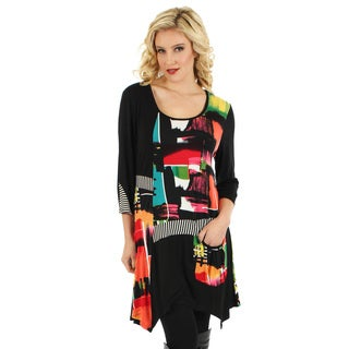 Firmiana Women's Multicolored Patchwork Side-tail Tunic