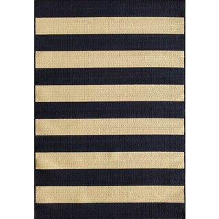 Somette Tributary Awning Stripe Navy and Ivory Indoor/ Outdoor Rug (6'7 x 9'6)