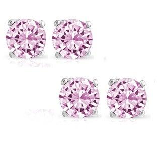 Pori Set of 2 Pairs Sterling Silver 2ct Genuine Pink Sapphire Stud Earrings