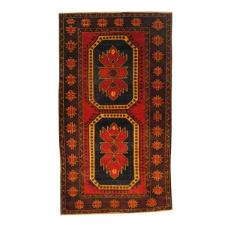 Herat Oriental Afghan Hand-knotted Semi-antique Tribal Balouchi Black/ Red Wool Rug (3'6 x 6'10)