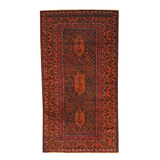 Herat Oriental Afghan Hand-knotted Semi-antique Tribal Balouchi Red/ Black Wool Rug (3'6 x 6'7)