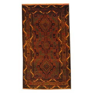 Herat Oriental Afghan Hand-knotted Semi-antique Tribal Balouchi Brown/ Beige Wool Rug (3'8 x 6'6)