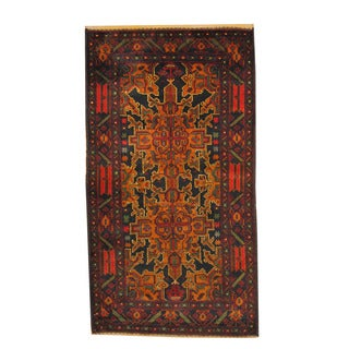 Herat Oriental Afghan Hand-knotted Semi-antique Tribal Balouchi Black/ Red Wool Rug (3'7 x 6'5)