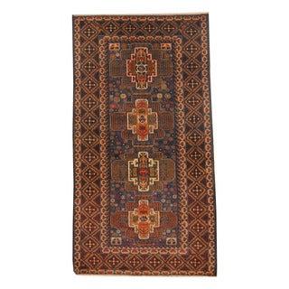 Herat Oriental Afghan Hand-knotted Semi-antique Tribal Balouchi Black/ Navy Wool Rug (3'8 x 6'9)