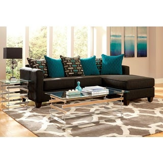 2-piece Charcoal Black Chenille Reversible Chaise Sectional