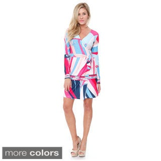 White Mark Women's 'Mariah' Colorful Wrap Dress