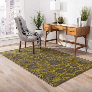 Machine Made Floral Pattern Green/Grey (5' x 7'6) AreaRug