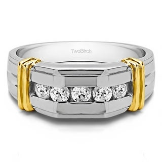 TwoBirch Sterling Silver 3/8ct TDW Five Stone Men's Diamond Wedding Band (G-H, I2-I3)