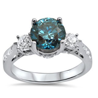 Noori 18k White Gold 1 1/2ct TDW Blue Diamond 3-stone Engagement Ring (F-G, SI1-SI2)