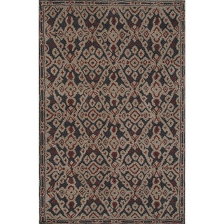 Hand-tufted Argyle Pattern Black/ Black Area Rug (2' x 3')