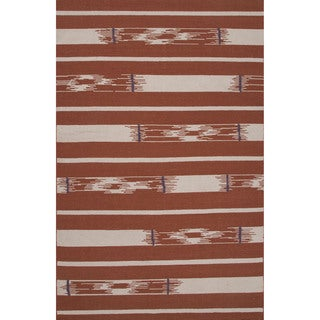 Flatweave Tribal Pattern Red/ Ivory Area Rug (5' x 8')