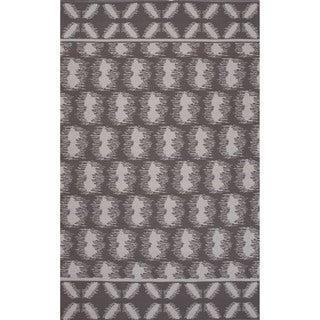 Flatweave Argyle Pattern Grey/ Ivory Area Rug (5' x 8')