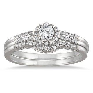 10k White Gold 1/2ct TDW Diamond Halo Bridal Set (I-J, I1-I2)