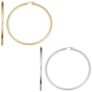 Fremada Sterling Silver 3x60-mm Large Round Hoop Earrings