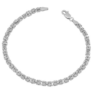 Fremada Rhodium Plated Sterling Silver 3.5-mm Round Byzantine Bracelet (7.5 inches)