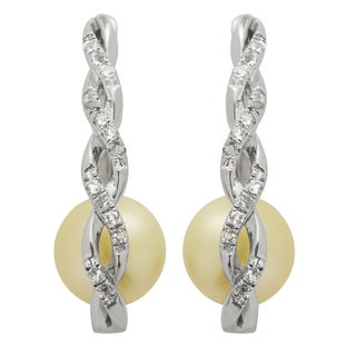 Pearls For You Sterling Silver Golden South Sea Pearl and White Topaz Hoop Earrings (9-10 mm)