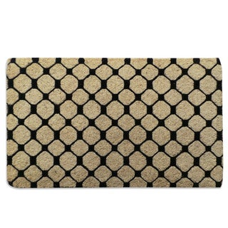 Black Check Pattern Extra thick Decorative Coir Mat (18x30)