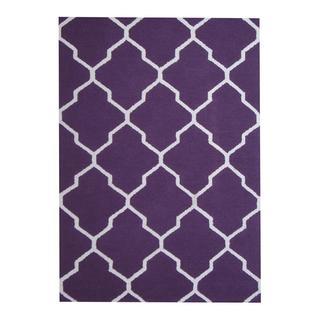 Herat Oriental Indo Hand-tufted Contemporary Design Purple/ Ivory Wool Rug (5' x 7')