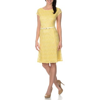 Sharagano Women's Chevron Lace Belted Dress
