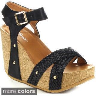 FOREVER MAYA-09 Women's Adjustable Ankle Strap Wedges