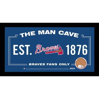 Atlanta Braves Man Cave Sign 6x12 Framed Photo With Authentic Game-Used Dirt (MLB Authenticated)