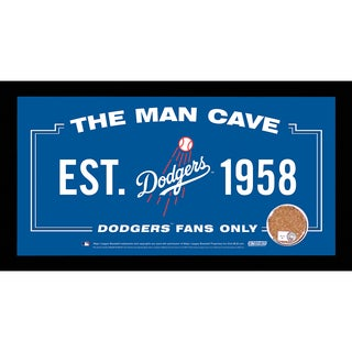 Los Angeles Dodgers Man Cave Sign 6x12 Framed Photo With Authentic Game-Used Dirt (MLB Authenticated)