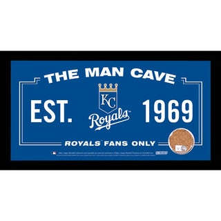 Kansas City Royals Man Cave Sign 6x12 Framed Photo With Authentic Game-Used Dirt Capsule (MLB Auth)