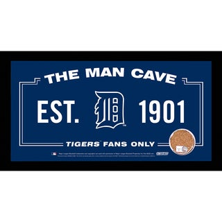 Detroit Tigers Man Cave Sign 6x12 Framed Photo With Authentic Game-Used Dirt Capsule (MLB Auth)