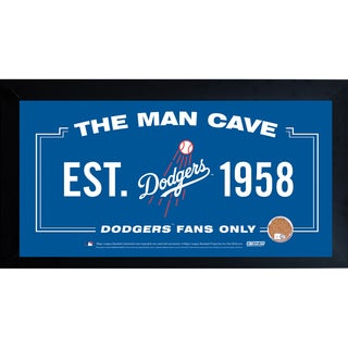 Los Angeles Dodgers Man Cave Framed 10x20 Sign w/ Authentic Game-Used Dirt (MLB Auth)