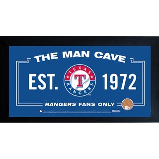 Texas Rangers Man Cave Framed 10x20 Sign w/ Authentic Game-Used Dirt Capsule (MLB Auth)