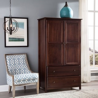 Cherry Finish Solid Pine Wood Shaker Armoire
