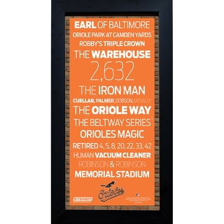 Baltimore Orioles Subway Sign 6x12 Framed Photo