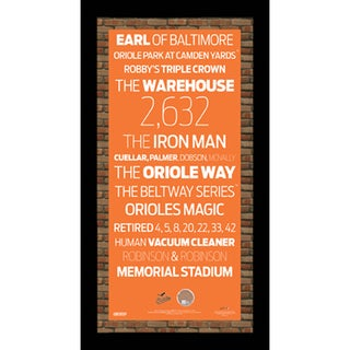 Baltimore Orioles Subway Sign 9.5x19 Frame w/ auth Dirt from Camden Yards