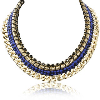 Passiana Blue Rope and Golden Chain Necklace