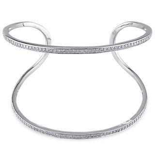 Miadora 14k White Gold 1 1/4ct TDW Diamond Cuff Bangle Bracelet (G-H, SI1-SI2)