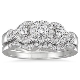 10k White Gold 5/8ct TDW 3-stone Diamond Cluster Bridal Set (I-J, I1-I2)
