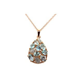 Gioelli Rose Goldplated Sterling Silver Blue Topaz Cubic Zirconia Necklace